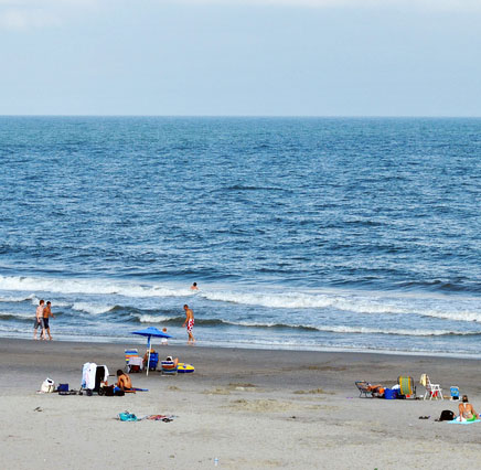 The beach in the South Strand of Myrtle Beach