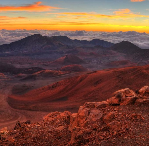 Sunset or sunrise from top of Maui's Haleakala Volcano